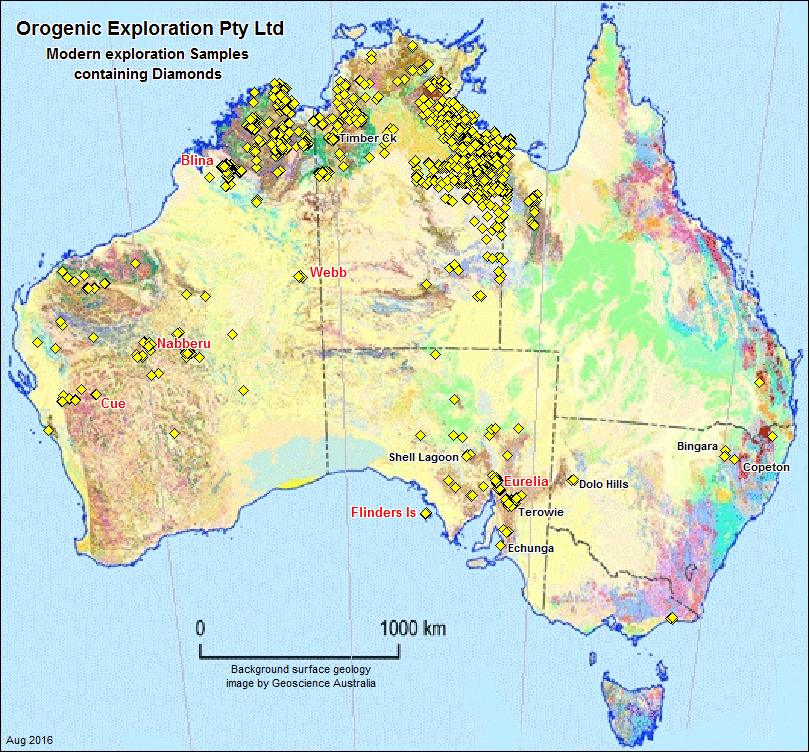 Australian geology map showing location of over 75,000 diamonds recovered        during modern exploration by various companies. Location points based on        database held by Orogenic Exploration Pty Ltd. Current active Australian        diamond exploration projects labelled in red are Flinders Island (Kalyan        Resources Pty Ltd/Orogenic Exploration Pty Ltd), Eurelia (Diamond Resources        Ltd), Webb (GeoCrystal Ltd/Meteoric Resources NL), Nabberu (Diamond        Resources Ltd) and Cue (Sunrise Resources Plc). Some selected previous        diamond exploration projects are labelled in black.